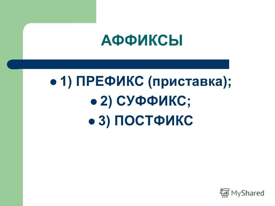 АФФИКСЫ 1) ПРЕФИКС (приставка); 2) СУФФИКС; 3) ПОСТФИКС