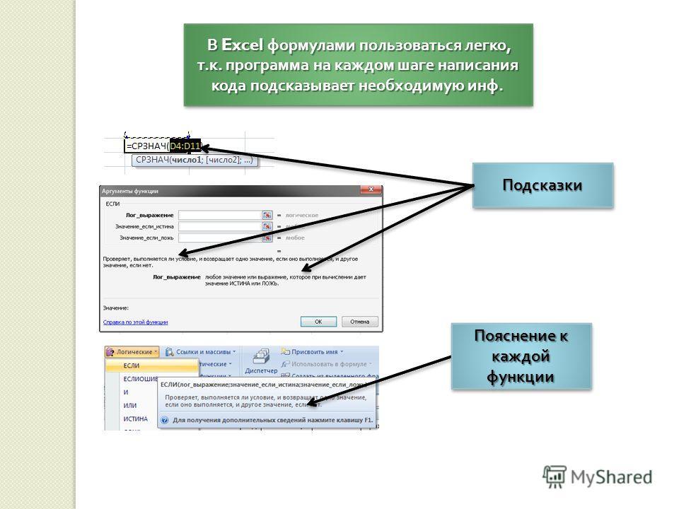 В Excel формулами пользоваться легко, т. к. программа на каждом шаге написания кода подсказывает необходимую инф. В Excel формулами пользоваться легко, т. к. программа на каждом шаге написания кода подсказывает необходимую инф. ПодсказкиПодсказки Поя