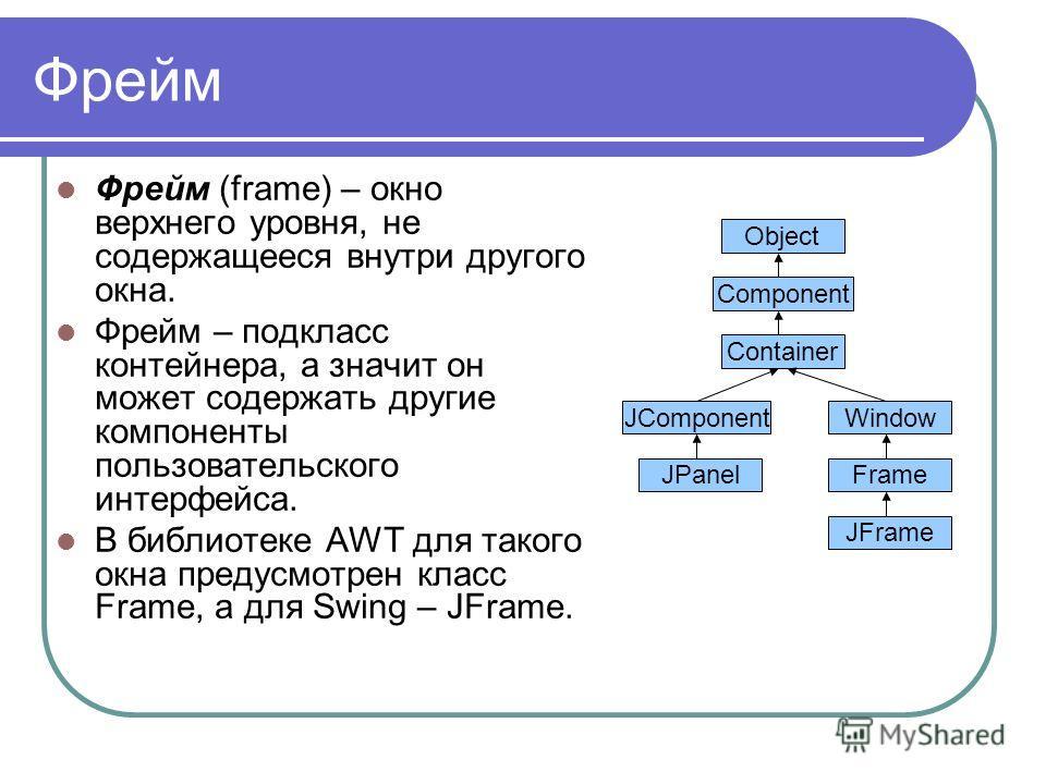 Фрейм Фрейм (frame) – окно верхнего уровня, не содержащееся внутри другого окна. Фрейм – подкласс контейнера, а значит он может содержать другие компоненты пользовательского интерфейса. В библиотеке AWT для такого окна предусмотрен класс Frame, а для