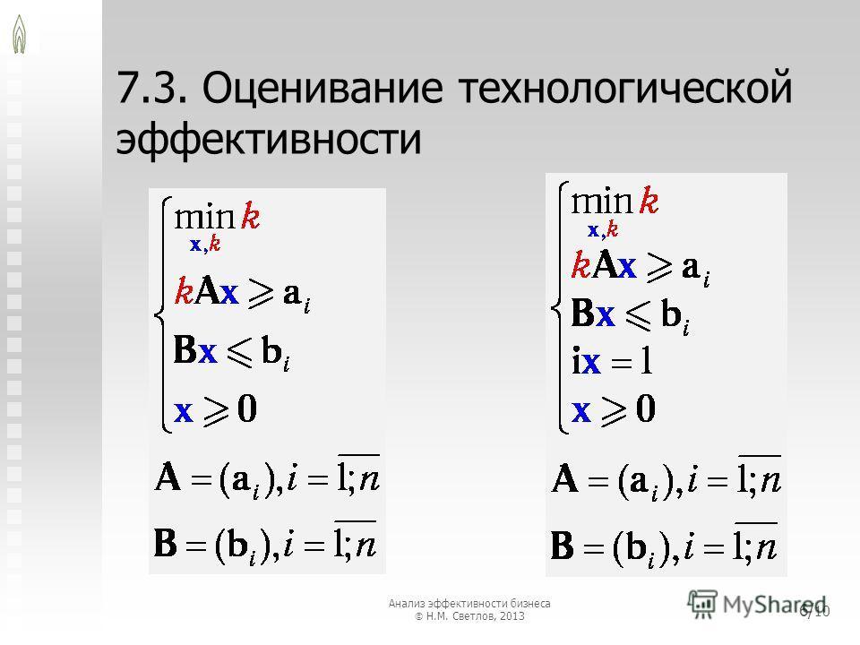 7.3. Оценивание технологической эффективности 6/ 10 Анализ эффективности бизнеса Н.М. Светлов, 2013