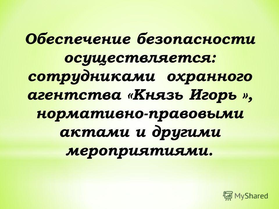 Обеспечение безопасности осуществляется: сотрудниками охранного агентства «Князь Игорь », нормативно-правовыми актами и другими мероприятиями.