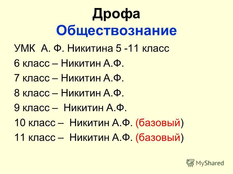 Дрофа Обществознание УМК А. Ф. Никитина 5 -11 класс 6 класс – Никитин А.Ф. 7 класс – Никитин А.Ф. 8 класс – Никитин А.Ф. 9 класс – Никитин А.Ф. 10 класс – Никитин А.Ф. (базовый) 11 класс – Никитин А.Ф. (базовый)