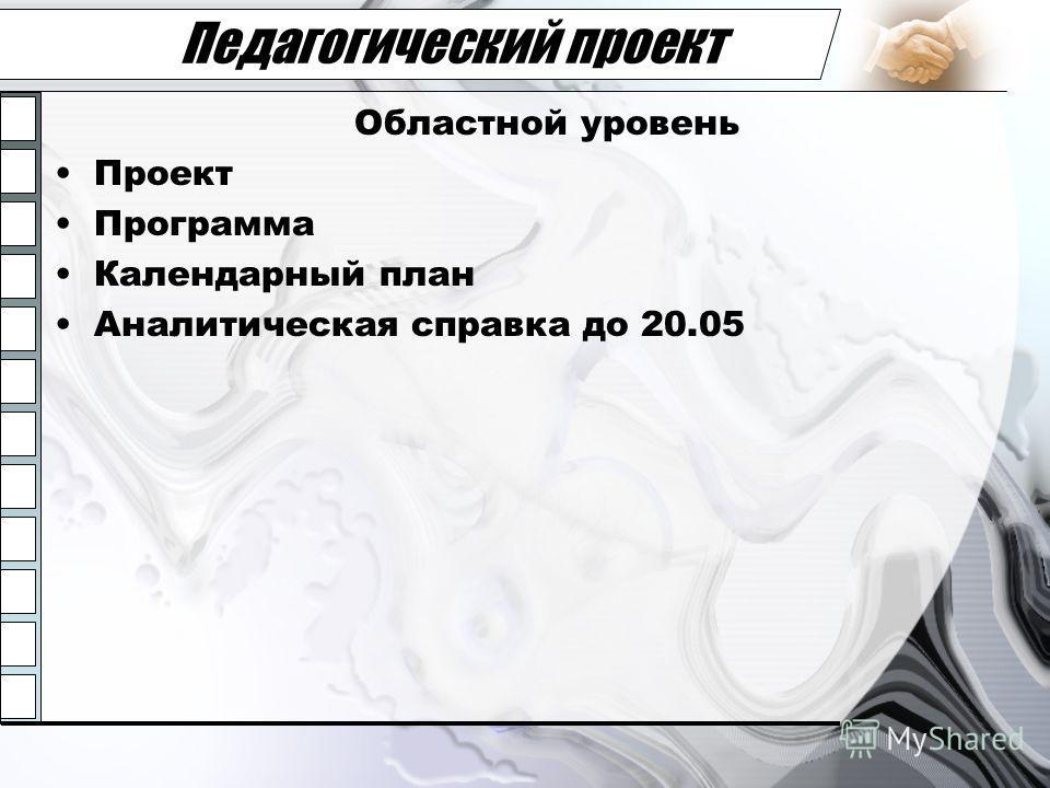 Педагогический проект Областной уровень Проект Программа Календарный план Аналитическая справка до 20.05