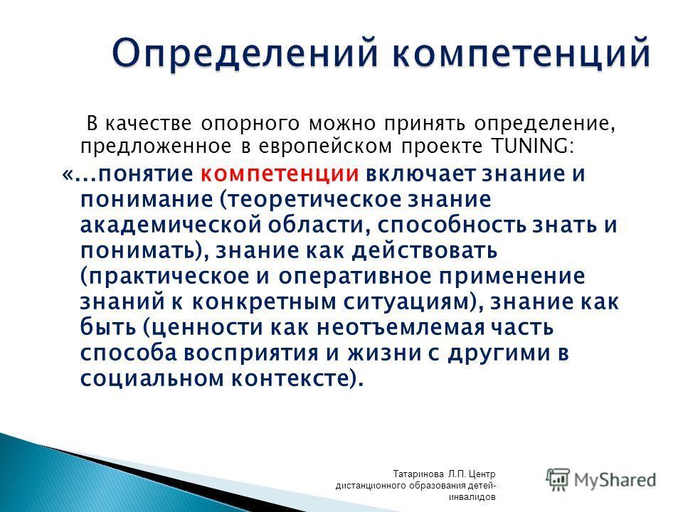 В качестве опорного можно принять определение, предложенное в европейском проекте TUNING: «...понятие компетенции включает знание и понимание (теоретическое знание академической области, способность знать и понимать), знание как действовать (практиче