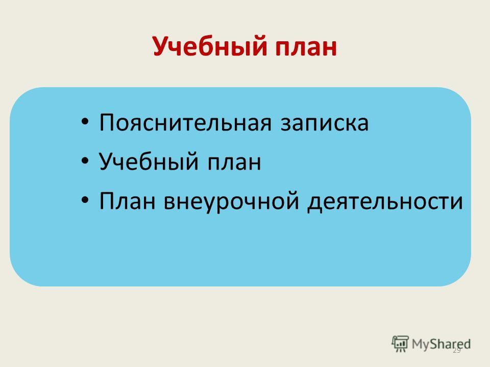 Учебный план Пояснительная записка Учебный план План внеурочной деятельности 29