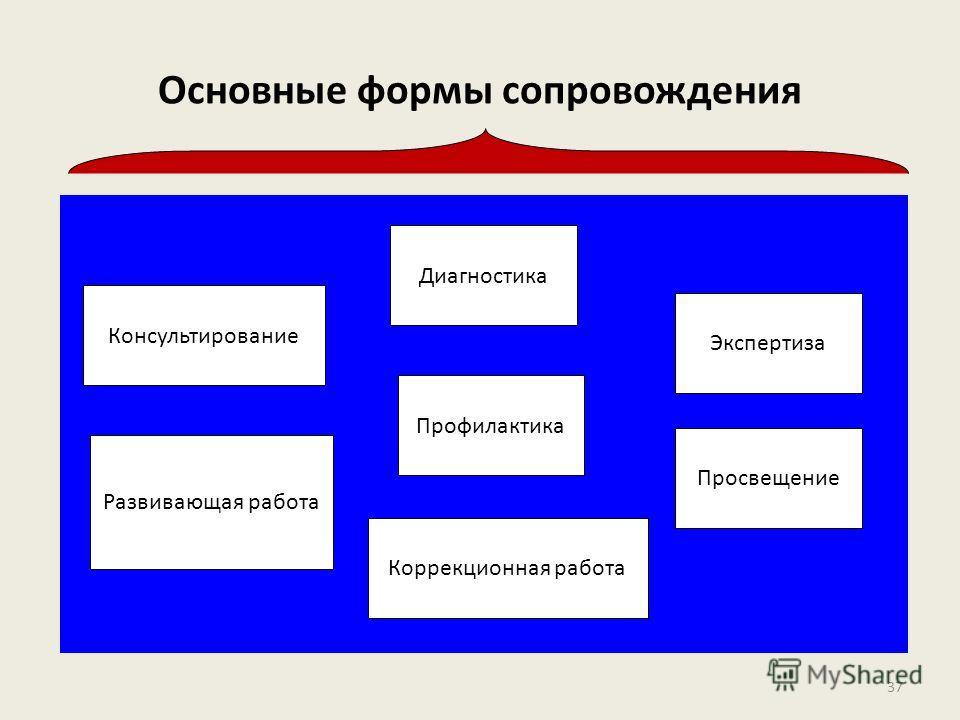 Основные формы сопровождения Консультирование Развивающая работа Профилактика Просвещение Экспертиза Диагностика Коррекционная работа 37