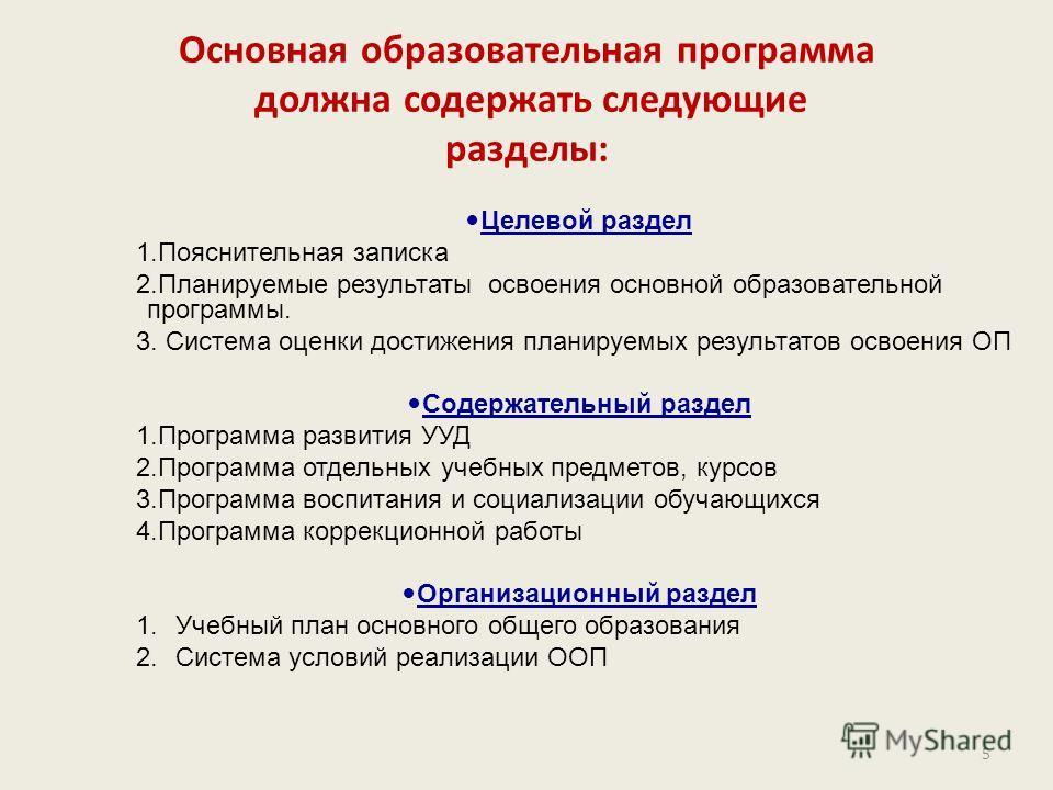 Основная образовательная программа должна содержать следующие разделы: Целевой раздел 1.Пояснительная записка 2.Планируемые результаты освоения основной образовательной программы. 3. Система оценки достижения планируемых результатов освоения ОП Содер