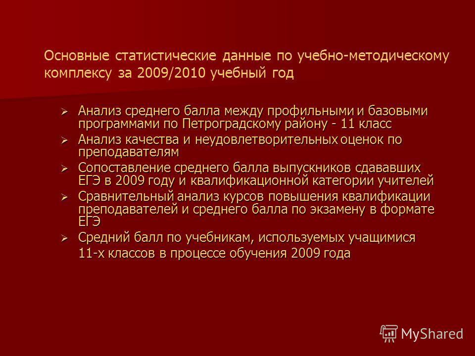 Основные статистические данные по учебно-методическому комплексу за 2009/2010 учебный год Анализ среднего балла между профильными и базовыми программами по Петроградскому району - 11 класс Анализ среднего балла между профильными и базовыми программам