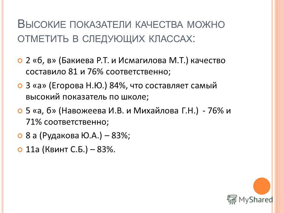 В ЫСОКИЕ ПОКАЗАТЕЛИ КАЧЕСТВА МОЖНО ОТМЕТИТЬ В СЛЕДУЮЩИХ КЛАССАХ : 2 «б, в» (Бакиева Р.Т. и Исмагилова М.Т.) качество составило 81 и 76% соответственно; 3 «а» (Егорова Н.Ю.) 84%, что составляет самый высокий показатель по школе; 5 «а, б» (Навожеева И.