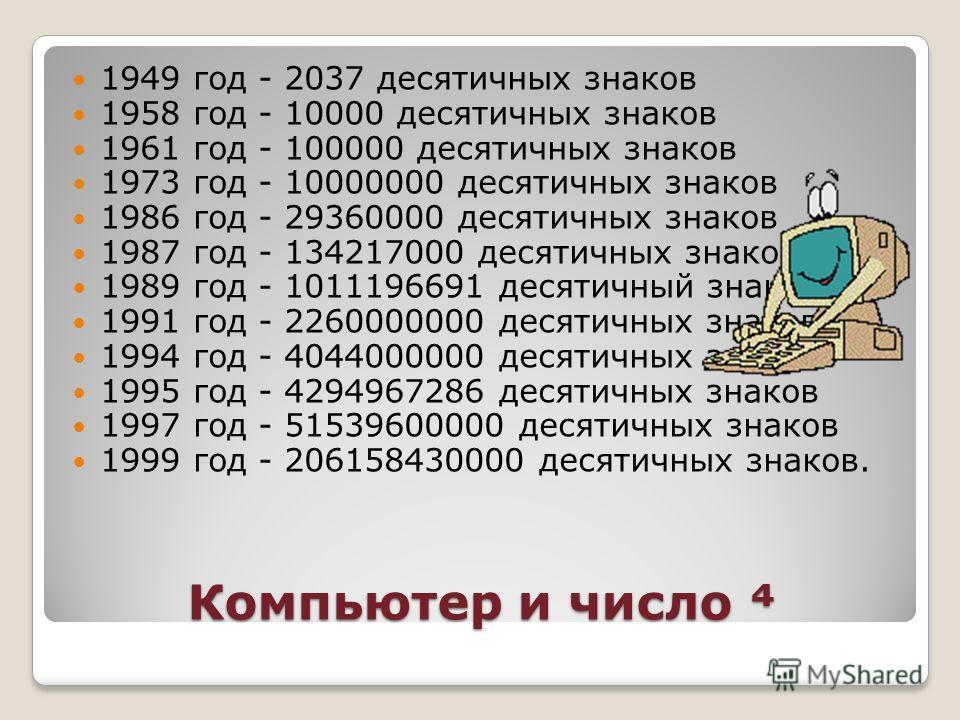 Компьютер и число Компьютер и число 1949 год - 2037 десятичных знаков 1958 год - 10000 десятичных знаков 1961 год - 100000 десятичных знаков 1973 год - 10000000 десятичных знаков 1986 год - 29360000 десятичных знаков 1987 год - 134217000 десятичных з