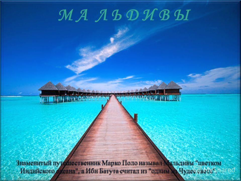М А Л Ь Д И В Ы Знаменитый путешественник Марко Поло называл Мальдивы цветком Индийского океана, а Ибн Батута считал из одним из Чудес света.