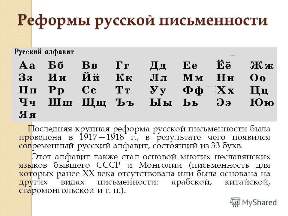 Реформы русской письменности Последняя крупная реформа русской письменности была проведена в 19171918 г., в результате чего появился современный русский алфавит, состоящий из 33 букв. Этот алфавит также стал основой многих неславянских языков бывшего