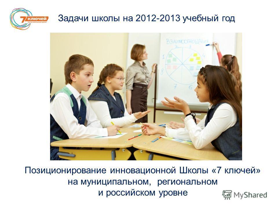 Задачи школы на 2012-2013 учебный год Позиционирование инновационной Школы «7 ключей» на муниципальном, региональном и российском уровне