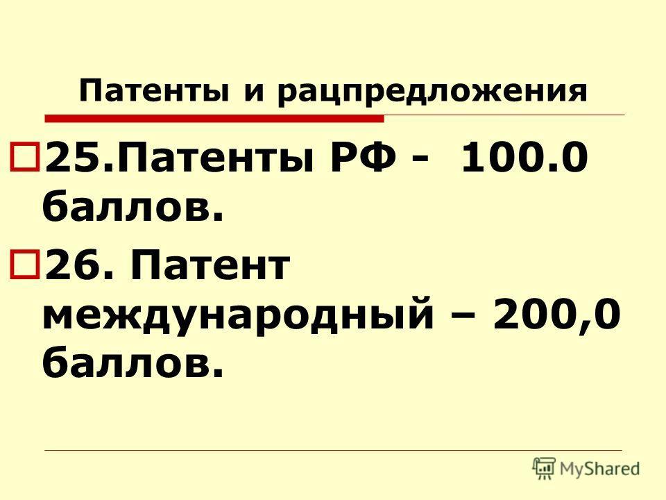 Патенты и рацпредложения 25.Патенты РФ - 100.0 баллов. 26. Патент международный – 200,0 баллов.