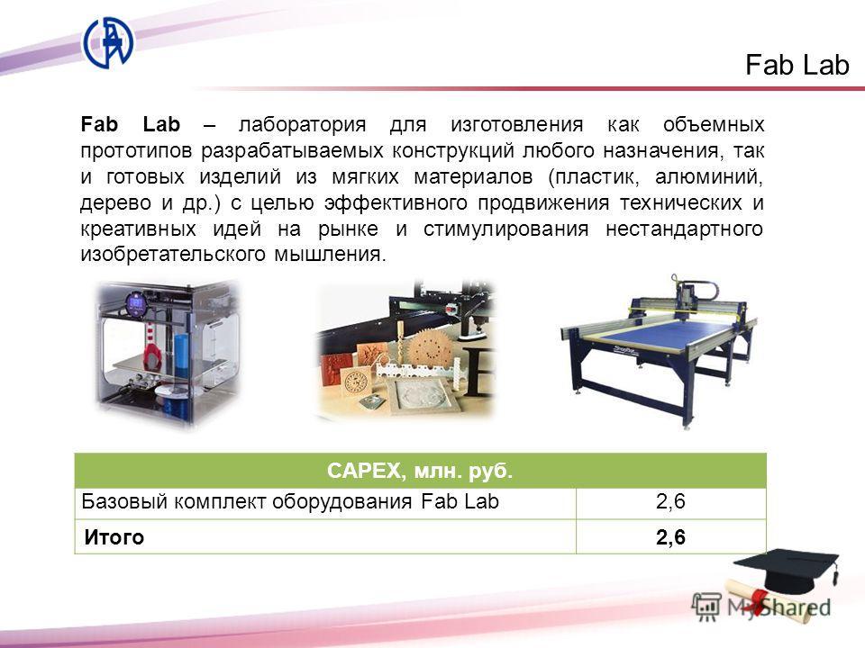 Fab Lab Fab Lab – лаборатория для изготовления как объемных прототипов разрабатываемых конструкций любого назначения, так и готовых изделий из мягких материалов (пластик, алюминий, дерево и др.) с целью эффективного продвижения технических и креативн