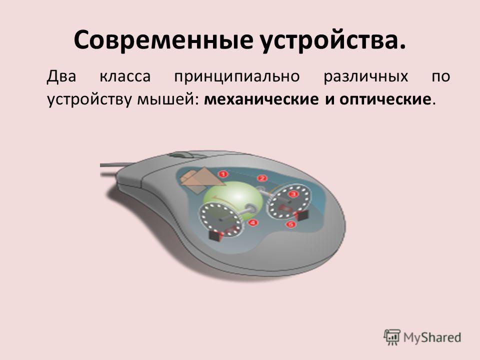 Современные устройства. Два класса принципиально различных по устройству мышей: механические и оптические.