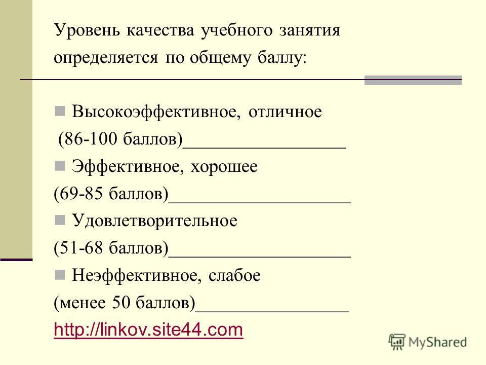 Уровень качества учебного занятия определяется по общему баллу: Высокоэффективное, отличное (86-100 баллов)_________________ Эффективное, хорошее (69-85 баллов)___________________ Удовлетворительное (51-68 баллов)___________________ Неэффективное, сл