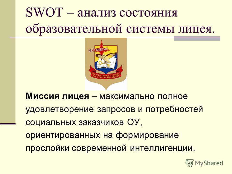 SWOT – анализ состояния образовательной системы лицея. Миссия лицея – максимально полное удовлетворение запросов и потребностей социальных заказчиков ОУ, ориентированных на формирование прослойки современной интеллигенции.