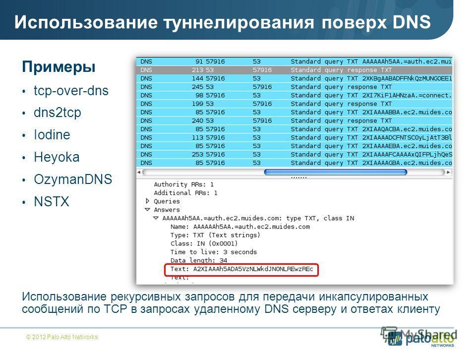 Использование туннелирования поверх DNS Примеры tcp-over-dns dns2tcp Iodine Heyoka OzymanDNS NSTX Использование рекурсивных запросов для передачи инкапсулированных сообщений по TCP в запросах удаленному DNS серверу и ответах клиенту © 2012 Palo Alto
