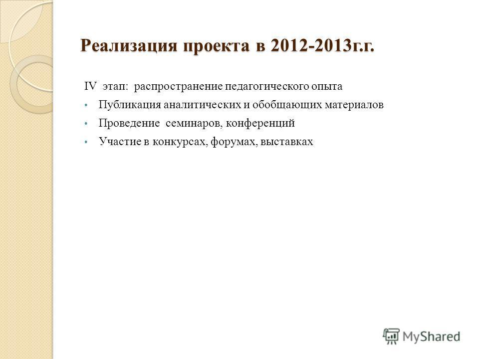 Реализация проекта в 2012-2013г.г. IV этап: распространение педагогического опыта Публикация аналитических и обобщающих материалов Проведение семинаров, конференций Участие в конкурсах, форумах, выставках