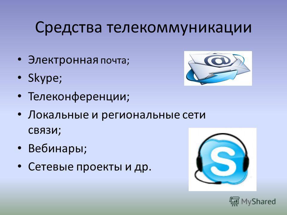 Средства телекоммуникации Электронная почта; Skype; Телеконференции; Локальные и региональные сети связи; Вебинары; Сетевые проекты и др.
