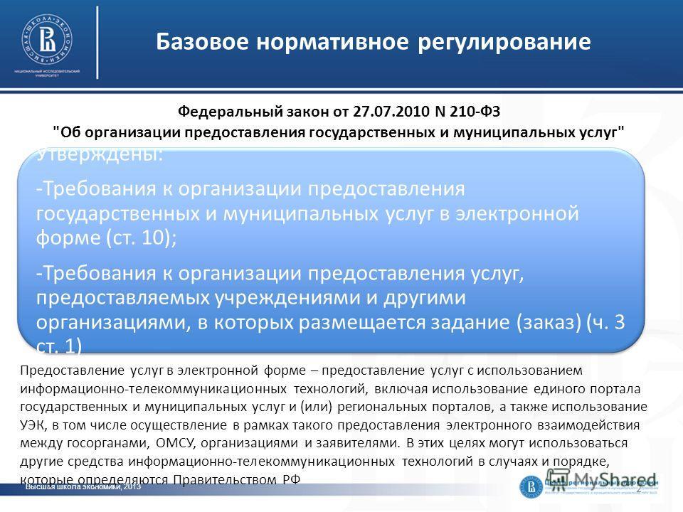 Базовое нормативное регулирование 2 Высшая школа экономики, 2013 Федеральный закон от 27.07.2010 N 210-ФЗ