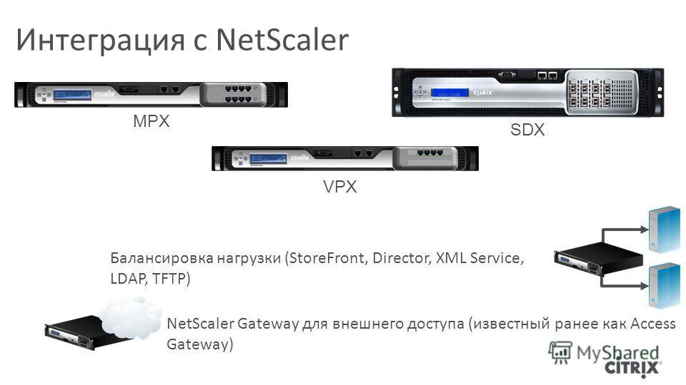 Интеграция с NetScaler Балансировка нагрузки (StoreFront, Director, XML Service, LDAP, TFTP) NetScaler Gateway для внешнего доступа (известный ранее как Access Gateway) MPX VPX SDX