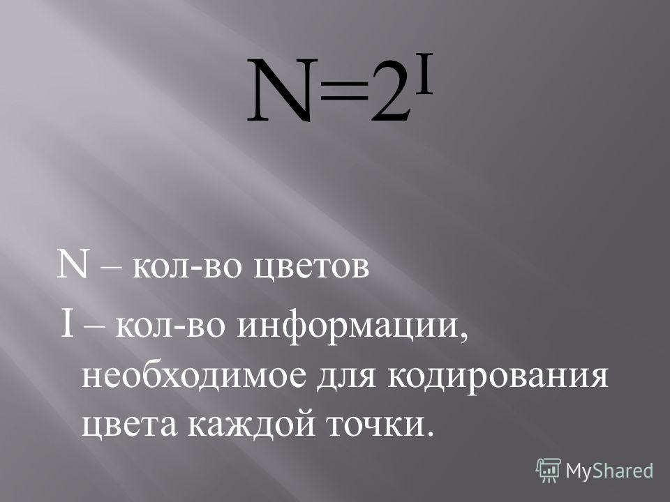N=2 I N – кол - во цветов I – кол - во информации, необходимое для кодирования цвета каждой точки.