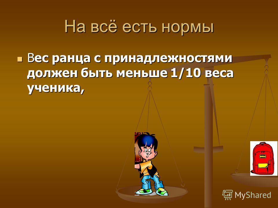 Вес ранца с принадлежностями должен быть меньше 1/10 веса ученика, Вес ранца с принадлежностями должен быть меньше 1/10 веса ученика, На всё есть нормы