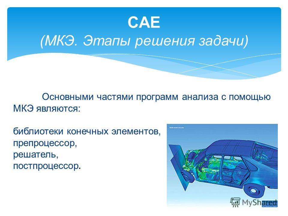CAE (МКЭ. Этапы решения задачи) Основными частями программ анализа с помощью МКЭ являются: библиотеки конечных элементов, препроцессор, решатель, постпроцессор.