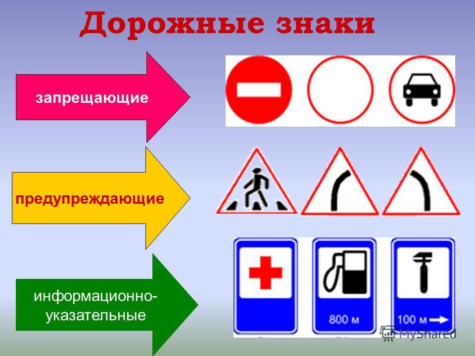 14 Дорожные знаки запрещающие предупреждающие информационно- указательные