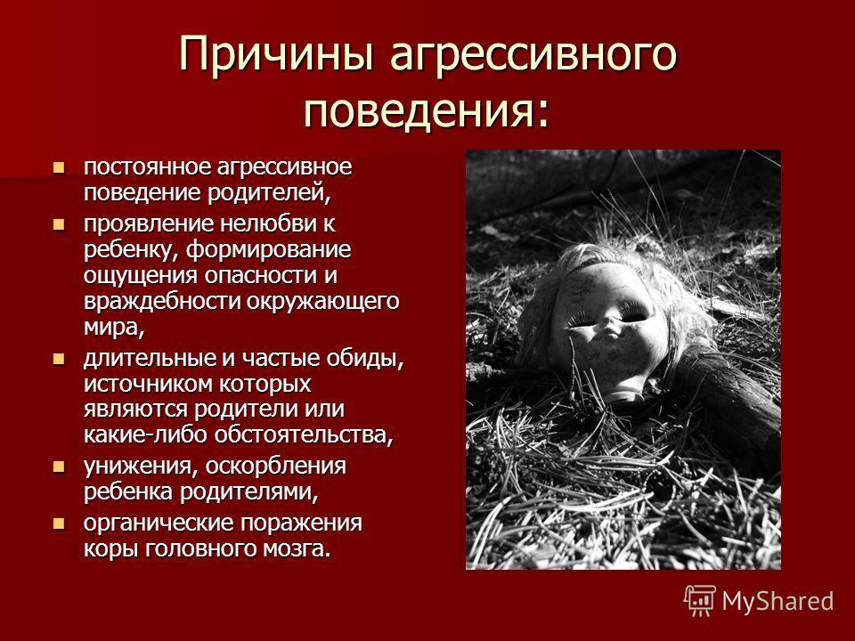 Причины агрессивного поведения: постоянное агрессивное поведение родителей, постоянное агрессивное поведение родителей, проявление нелюбви к ребенку, формирование ощущения опасности и враждебности окружающего мира, проявление нелюбви к ребенку, форми