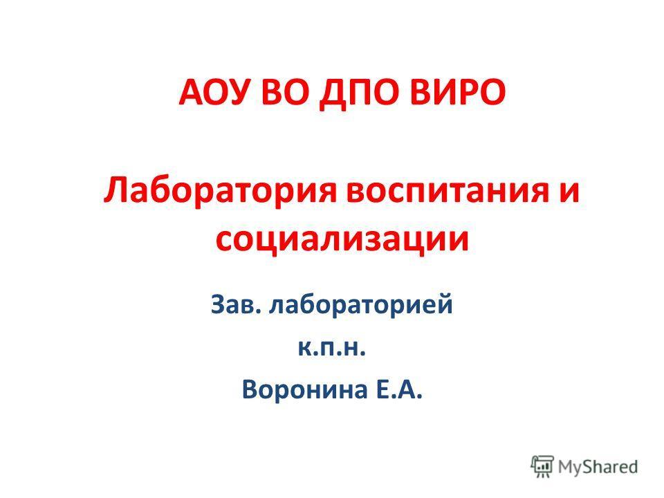 АОУ ВО ДПО ВИРО Лаборатория воспитания и социализации Зав. лабораторией к.п.н. Воронина Е.А.