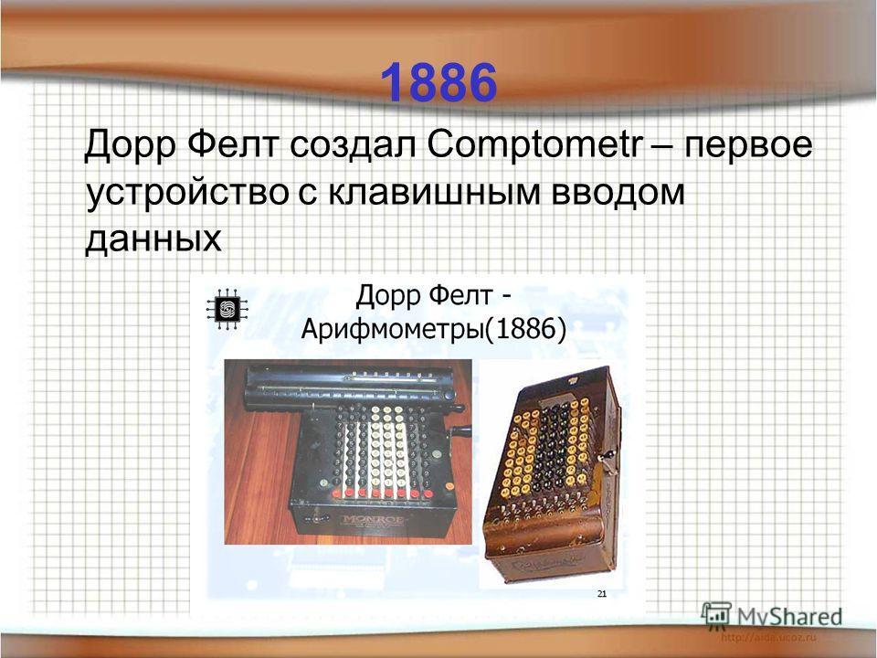 1886 Дорр Фелт создал Comptometr – первое устройство с клавишным вводом данных