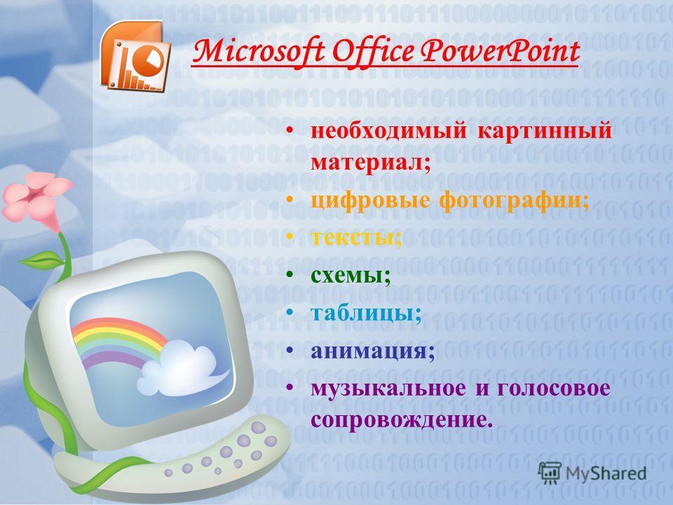 Microsoft Office PowerPoint необходимый картинный материал; цифровые фотографии; тексты; схемы; таблицы; анимация; музыкальное и голосовое сопровождение.