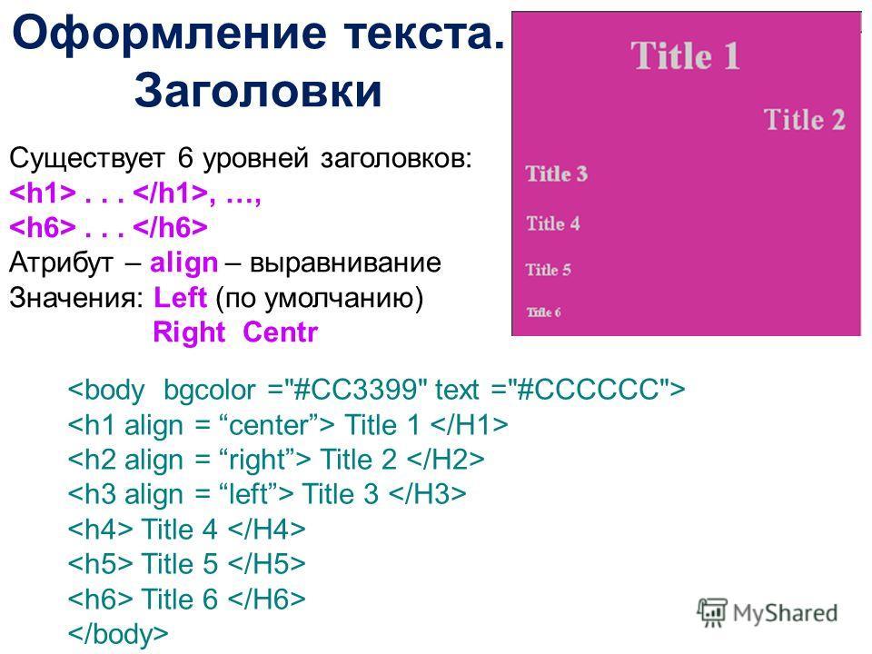 Оформление текста. Заголовки Существует 6 уровней заголовков:..., …,... Атрибут – align – выравнивание Значения: Left (по умолчанию) Right Centr Title 1 Title 2 Title 3 Title 4 Title 5 Title 6