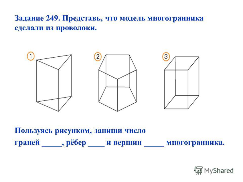 Задание 249. Представь, что модель многогранника сделали из проволоки. Пользуясь рисунком, запиши число граней _____, рёбер ____ и вершин _____ многогранника.