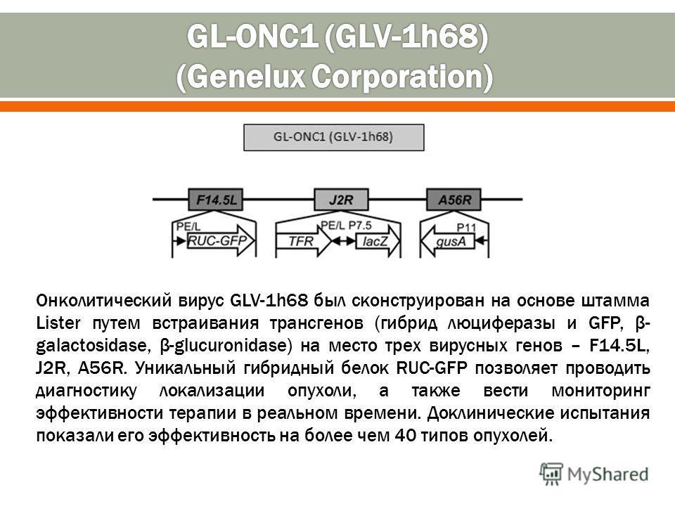 Онколитический вирус GLV-1h68 был сконструирован на основе штамма Lister путем встраивания трансгенов (гибрид люциферазы и GFP, β- galactosidase, β-glucuronidase) на место трех вирусных генов – F14.5L, J2R, A56R. Уникальный гибридный белок RUC-GFP по
