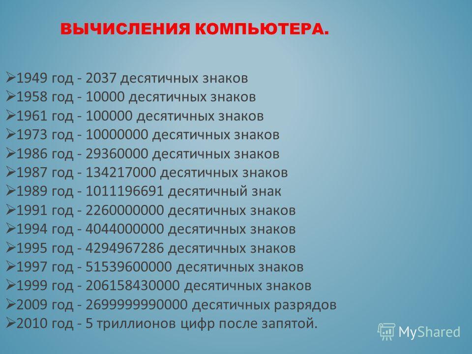 ВЫЧИСЛЕНИЯ КОМПЬЮТЕРА. 1949 год - 2037 десятичных знаков 1958 год - 10000 десятичных знаков 1961 год - 100000 десятичных знаков 1973 год - 10000000 десятичных знаков 1986 год - 29360000 десятичных знаков 1987 год - 134217000 десятичных знаков 1989 го