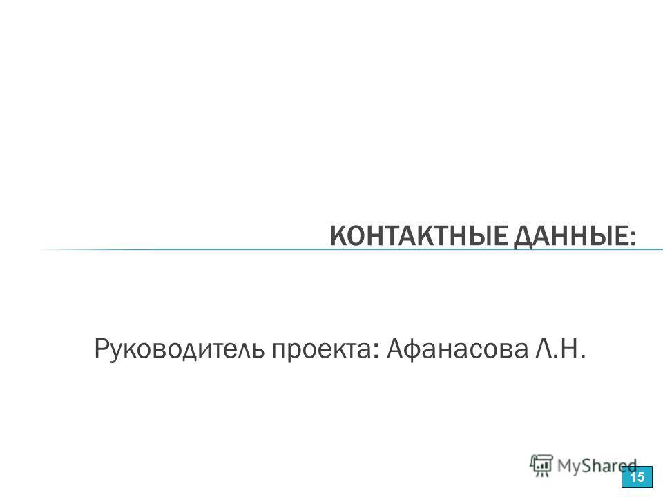 Руководитель проекта: Афанасова Л.Н. КОНТАКТНЫЕ ДАННЫЕ: 15