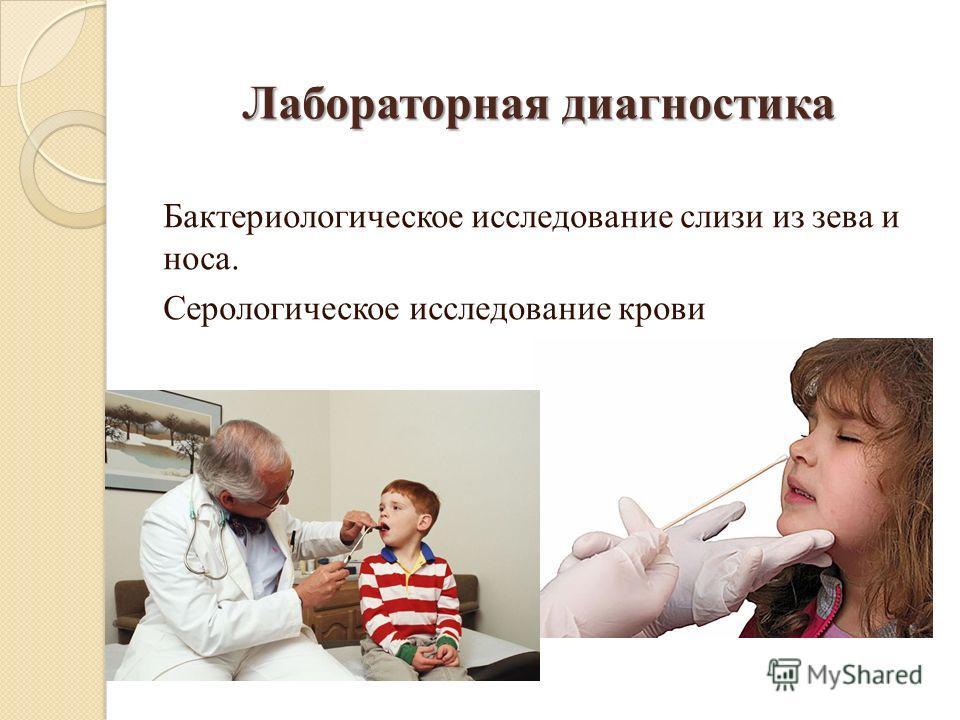 Лабораторная диагностика Бактериологическое исследование слизи из зева и носа. Серологическое исследование крови