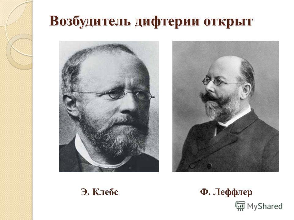 Возбудитель дифтерии открыт Э. Клебс Ф. Леффлер