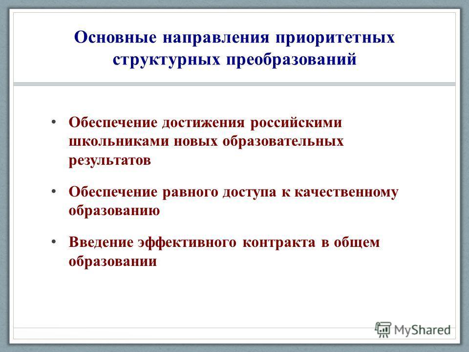 Основные направления приоритетных структурных преобразований Обеспечение достижения российскими школьниками новых образовательных результатов Обеспечение равного доступа к качественному образованию Введение эффективного контракта в общем образовании