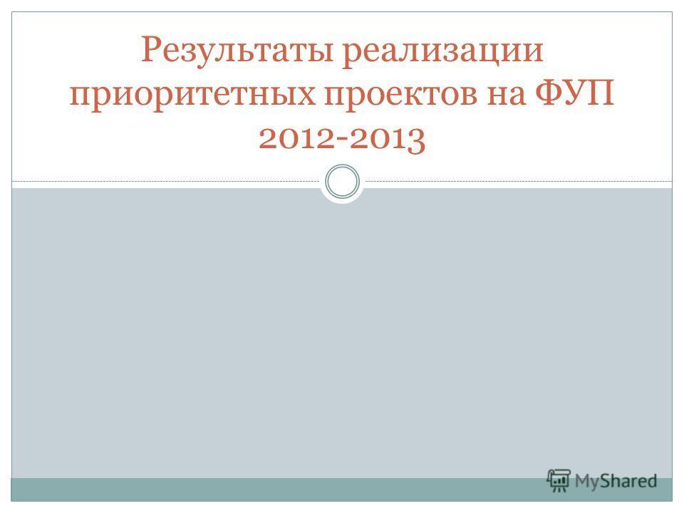 Результаты реализации приоритетных проектов на ФУП 2012-2013