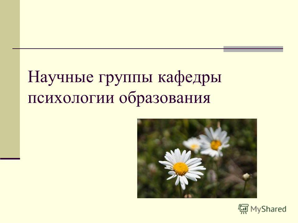 Научные группы кафедры психологии образования