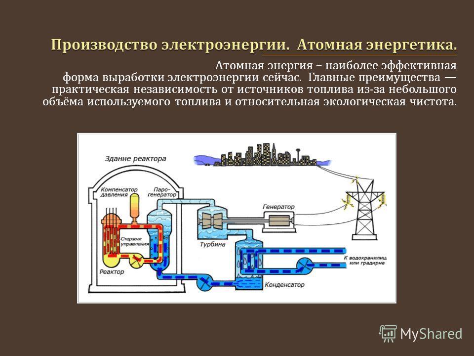 Атомная энергия – наиболее эффективная форма выработки электроэнергии сейчас. Главные преимущества практическая независимость от источников топлива из - за небольшого объёма используемого топлива и относительная экологическая чистота.
