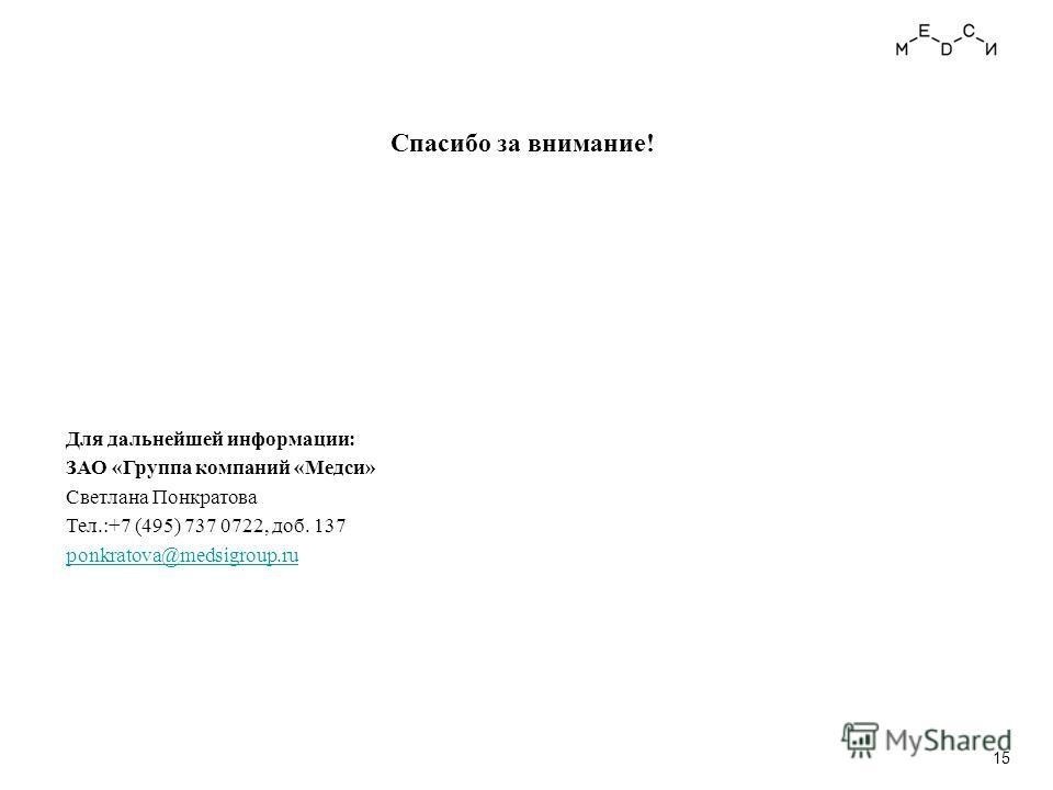 Спасибо за внимание! Для дальнейшей информации: ЗАО «Группа компаний «Медси» Светлана Понкратова Тел.:+7 (495) 737 0722, доб. 137 ponkratova@medsigroup.ru 15