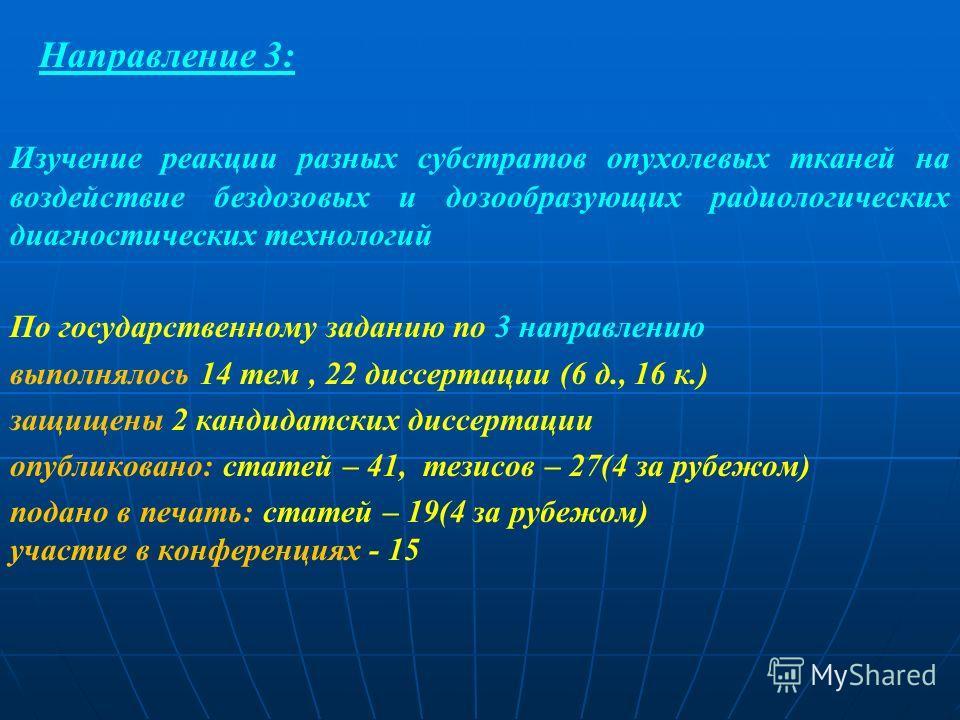 Направление 3: Изучение реакции разных субстратов опухолевых тканей на воздействие бездозовых и дозообразующих радиологических диагностических технологий По государственному заданию по 3 направлению выполнялось 14 тем, 22 диссертации (6 д., 16 к.) за