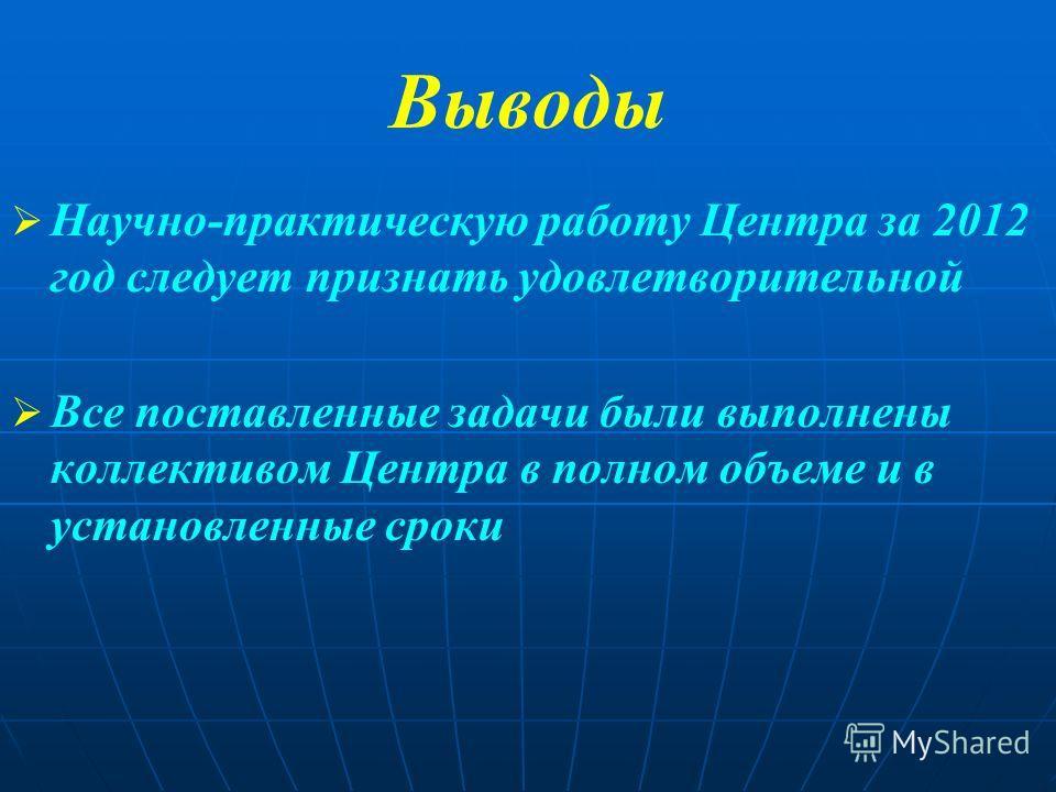 Выводы Научно-практическую работу Центра за 2012 год следует признать удовлетворительной Все поставленные задачи были выполнены коллективом Центра в полном объеме и в установленные сроки