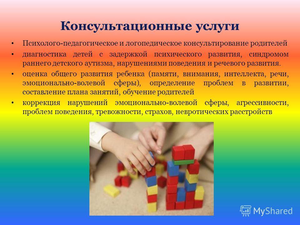 Консультационные услуги Психолого-педагогическое и логопедическое консультирование родителей диагностика детей с задержкой психического развития, синдромом раннего детского аутизма, нарушениями поведения и речевого развития. оценка общего развития ре